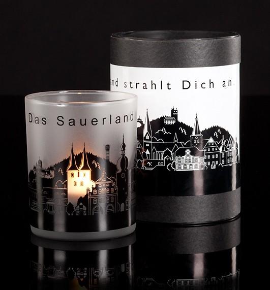 """Glaslicht """"Das Sauerland strahlt dich an"""""""
